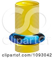 Clipart Globe Being Squised Under Pressure In A Stack Of Gold Coins Royalty Free Vector Illustration