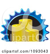 Clipart Stacks Of Gold Dollar Coins In A Blue Gear Royalty Free Vector Illustration
