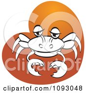 Clipart Black And White Crab On An Orange Heart Royalty Free Vector Illustration
