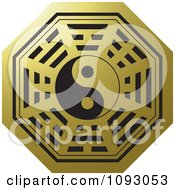 Clipart Black And Golden Yin Yang Chinese Symbol Royalty Free Vector Illustration