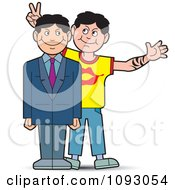 Clipart Guy Giving His Professional Brother Bunny Ears For A Photo Royalty Free Vector Illustration