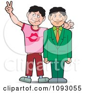 Clipart Boy Giving His Professional Brother Bunny Ears For A Photo Royalty Free Vector Illustration