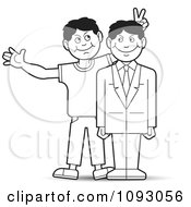 Clipart Outlined Man Giving His Professional Brother Bunny Ears For A Photo Royalty Free Vector Illustration