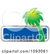Clipart Green Palm Tree And Blank Blue Sign Royalty Free Vector Illustration