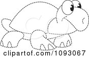 Clipart Dotted Outlined Tortoise Royalty Free Vector Illustration