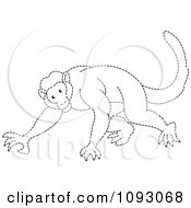 Clipart Outlined Dotted Line Monkey Royalty Free Vector Illustration