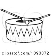 Clipart Outlined Sticks Resting On A Drum Royalty Free Vector Illustration by Lal Perera