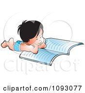 Clipart Boy Resting On His Belly And Reading Royalty Free Vector Illustration