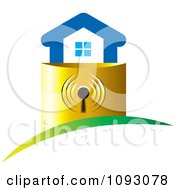 Clipart Blue House On A Golden Padlock Base Royalty Free Vector Illustration by Lal Perera