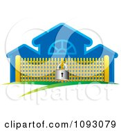 Clipart Padlock Securing A Golden Gate By A Blue Building Royalty Free Vector Illustration by Lal Perera