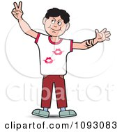 Clipart Boy Holding Up Bunny Ears Peacve Or Victory Royalty Free Vector Illustration