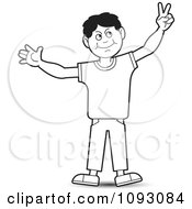Clipart Outlined Boy Holding Up Bunny Ears Peacve Or Victory Royalty Free Vector Illustration