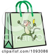 Clipart Green Monkey Shopping Bag Royalty Free Vector Illustration by Lal Perera