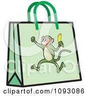 Clipart Green Monkey Shopping Bag Royalty Free Vector Illustration