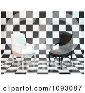 3d Black And White Antique Chairs On A Checkered Background