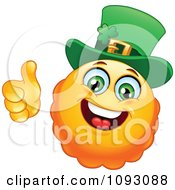 Clipart St Paddys Day Emoticon Holding A Thumb Up Royalty Free Vector Illustration