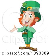 Clipart St Paddys Day Leprechaun Presenting Royalty Free Vector Illustration by yayayoyo