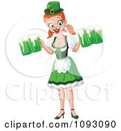 Clipart St Paddys Day Beer Maiden Smiling Royalty Free Vector Illustration
