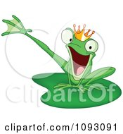 Happy Prince Frog Kicking A Leg On A Lily Pad