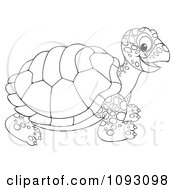 Clipart Happy Outlined Tortoise Royalty Free Illustration by Alex Bannykh