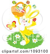 Clipart Happy Yellow Easter Bunny Holding A Basket Royalty Free Vector Illustration