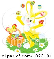 Clipart Happy Yellow Easter Bunny Juggling Eggs Royalty Free Vector Illustration