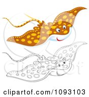 Clipart Outlined And Colored Speckled Manta Rays Royalty Free Illustration by Alex Bannykh