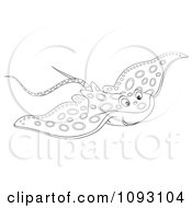 Clipart Outlind Speckled Manta Ray Royalty Free Illustration by Alex Bannykh