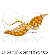 Clipart Speckled Brown Manta Ray Royalty Free Illustration by Alex Bannykh