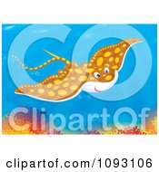 Clipart Speckled Brown Manta Ray Swimming Over A Coral Reef Royalty Free Illustration by Alex Bannykh
