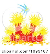 Clipart Blue Marine Fish Over Sea Anemones Royalty Free Vector Illustration