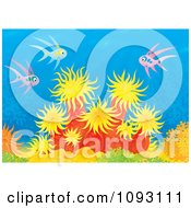 Clipart Pink And Blue Fish Over Sea Anemones On A Reef Royalty Free Illustration by Alex Bannykh