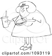Clipart Outlined Overweight Woman Carrying A Soda And Hamburger Royalty Free Vector Illustration by djart