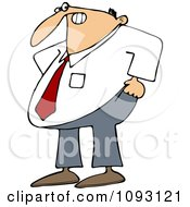 Clipart Frustrated Businessman Trying To Pull His Pants Up Over His Belly Royalty Free Vector Illustration