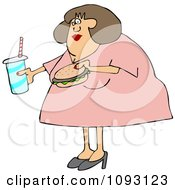 Clipart Obese Woman Carrying A Soda And Hamburger Royalty Free Vector Illustration by djart