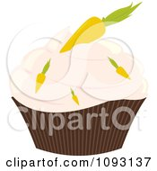 Clipart Pastel Pink Frosted Carrot Cupcake - Royalty Free Vector Illustration by Randomway