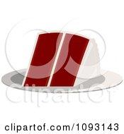Clipart Serving Of Red Velvet Cake Royalty Free Vector Illustration