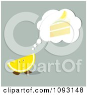 Clipart Wedge Thinking Of A Lemon Cake Royalty Free Vector Illustration by Randomway
