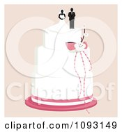 Clipart Layered Wedding Cake With A Bride And Groom Topper 3 Royalty Free Vector Illustration by Randomway