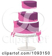 Clipart Layered Pink And Purple Wedding Cake Royalty Free Vector Illustration