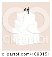 Clipart Layered Wedding Cake With A Bride And Groom Topper 4 Royalty Free Vector Illustration by Randomway