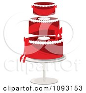 Clipart Layered Red And White Wedding Cake Royalty Free Vector Illustration by Randomway