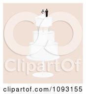 Clipart Layered Wedding Cake With A Bride And Groom Topper 6 Royalty Free Vector Illustration by Randomway