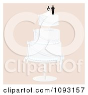 Clipart Layered Wedding Cake With A Bride And Groom Topper 7 Royalty Free Vector Illustration by Randomway