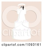 Clipart Layered Wedding Cake With A Bride And Groom Topper 9 Royalty Free Vector Illustration by Randomway