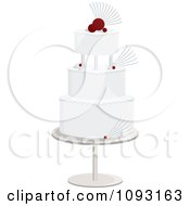 Clipart Layered White And Red Wedding Cake Royalty Free Vector Illustration