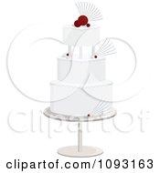 Layered White And Red Wedding Cake