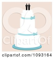 Clipart Layered Wedding Cake With A Gay Topper 1 Royalty Free Vector Illustration by Randomway