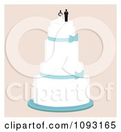 Clipart Layered Wedding Cake With A Bride And Groom Topper 1 Royalty Free Vector Illustration by Randomway