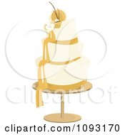 Clipart Layered Cream And Gold Wedding Cake Royalty Free Vector Illustration by Randomway